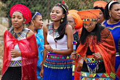 Blushing makoti Zulu Traditional Attire, Traditional Outfits, African Dresses For Women, African Attire, Zulu Wedding, Shweshwe Dresses, African Fashion Designers, African Weddings, African Prints