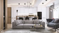 Designing this apartment MUSA Studio had intended to create a bright and elegant neoclassic apartment, lit by natural light Open Plan Apartment, Elegant Living Room, Modern Living, Studio Interior, Common Area, Interior Design Inspiration, Decoration, Beautiful Homes, Living Room Decor