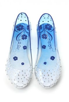Transparent Jelly Ballet Flats in Blue