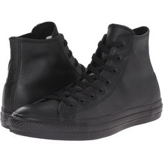 Converse Chuck Taylor All Star Leather Hi (Black Mono Leather) Classic... (£57) ❤ liked on Polyvore featuring shoes, sneakers, black leather trainers, converse trainers, leather lace up sneakers, lace up sneakers and lace up shoes