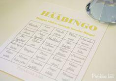 Projektina häät wedding bingo free printables
