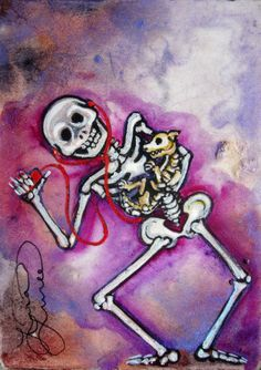 Lisa Luree art Original DANCING WITH THE DOG ooak painting ACEO day of the dead
