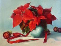 "Daily Paintworks - ""Bright Christmas Poinsettias"" - Original Fine Art for Sale - © Lori Twiggs"