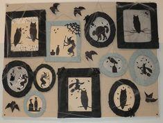 """Čarodějnice - """"fotogalerie""""- rámečky z kartonu a krepového papíru (Witch - decoration)"""