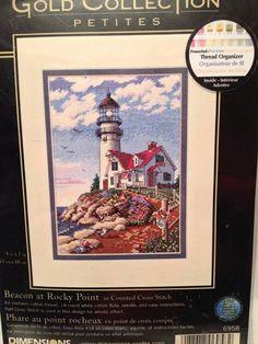 Dimensions Gold Collection Petites Lighthouse by CraftyJackys Thread Organization, Needlepoint Kits, Cross Stitch Kits, Plastic Canvas, Etsy Handmade, Vintage Shops, Lighthouse, Nautical, Etsy Shop