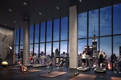 new york's most luxurious gyms and fitness centers workout with a view: we take a look at residential gym designs that help occupants keep fit throughout the year. New York City Manhattan, Manhattan Apartment, Gym Interior, Luxury Interior, Care Packages, Studios, Bild Outfits, Gym Architecture, Shop Architects