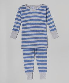 This Navy & Gray Rugby Stripe Pajama Set - Infant, Toddler & Boys by Baby Steps is perfect! #zulilyfinds