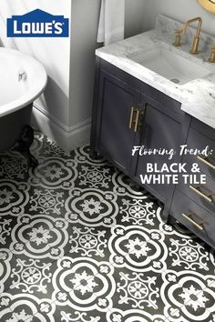 DELLA TORRE Cementina Black and White x Glazed Ceramic Encaustic Tile at Lowe's. Experience a unique combination of timeless Italian design. History and style collide with this old world black and white pattern tile. Bathroom Renos, Small Bathroom, Master Bathroom, Spa Bathrooms, Tile Bedroom, White Bathrooms, Black And White Tiles, Black And White Bathroom Floor, Black And White Backsplash