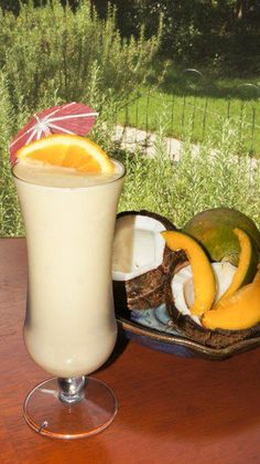 SHAKE OF THE DAY: COCO MANGO-RHU  6oz Silk Almond Milk  2 scoops Vi-Shape shake mix  1/2c fresh or frozen Mango  4 chunks frozen Rhubarb  ... 1 Tbsp Torani SF Coconut flavoring (or 1/2 Tsp Coconut Extract)  6 ice cubes and blend well.    Not only is this shake YUMMY, it is also LOADED with nutrition.