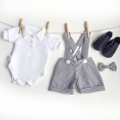 Black White Gingham Baby Boy Clothes 4 Piece Baby Boy First