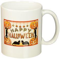3dRose Vintage Happy Halloween Jack O Lanterns and Black Cats Ceramic Mug, 11-Ounce >> Startling review available here  : Cat mug