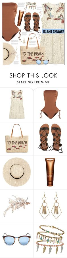 """Island Getaway!!! YAY!!!"" by sweta-gupta ❤ liked on Polyvore featuring RED Valentino, Melissa Odabash, Style & Co., Billabong, Clarins, Le Specs, Miss Selfridge, polyvoreeditorial, polyvorecontest and islandgetaway"