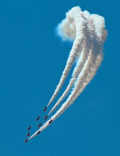 "The RAF Red Arrows go ""smoke on."""