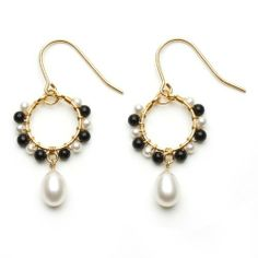 e5c88fba5e3 Gold-Plated Sterling Silver Small Hoop Dangle Earrings with Wire-Wrapped  White Freshwater Pearls and Onyx and Freshwater Pearl Drop Joy De Mer.   200.00