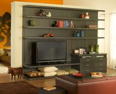 California Closets provides a range of unique and beautiful custom closets, closet organizers, and home storage systems for any room in your home. Built In Media Center, Built In Entertainment Center, Entertainment Room, Modern Tv Cabinet, Media Cabinet, California Closets, Custom Closets, Diy Fireplace, Living Spaces