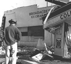 The Broadacres general store sustained major damage along with the Collins gas station during the Columbus Day storm on October 1962 Columbus Day, General Store, Gas Station, Pacific Northwest, North West, Old Photos, Sustainability, Oregon, October