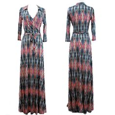 DIAMOND Red/Blue/Green Bohemian MAXI DRESS Jersey Wrap LONG Skirt vtg BOHO S-M-L #tamarstreasures #WrapDress #Cocktail