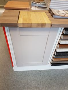 Howdens Fairford cashmere with solid oak worktop