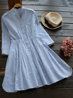 SHARE & Get it FREE | Striped Linen Blend Shirt Dress - Blue And White SFor Fashion Lovers only:80,000+ Items • New Arrivals Daily Join Zaful: Get YOUR $50 NOW!
