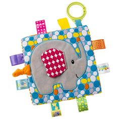 Taggies Crinkle Me by Mary Meyer x Part soother, part activity toy. Taggies-crinkle Me Elephant has fun character applique on colorful pattern. Quilt Baby, Baby Elefant, Best Baby Toys, Dou Dou, Tag Blanket, Shower Bebe, Diy Couture, Activity Toys, Sensory Toys