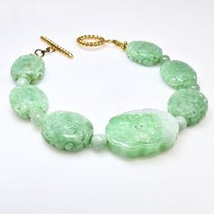Carved Natural Green Jade Dragon Beads - Bat and Double Happiness - Bracelet