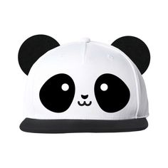 Kawaii Panda Flat Brim Cap With Ears ($25) ❤ liked on Polyvore featuring accessories, hats, brimmed hat, snap back hats, panda hat, brim cap and snapback hats