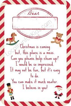 Elf on the Shelf is asking the children to help clean the house up....10 FREE Elf on the Shelf Printable Poems - Home - Easy, Fun & Free Things to Do With Kids