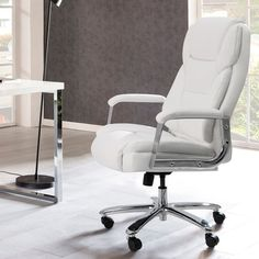 Inbox Zero Big and Tall Executive Chair & Reviews | Wayfair White Leather Office Chair, White Office, Laptop Tray, Big Desk, Executive Chair, Bedroom Chair, Chair Upholstery, Reception Rooms, Office Chairs