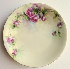 Signed T Limoges Plate with Large Pink by MemoriesofYesterday, $55.00