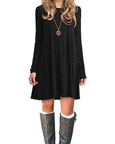 Azue-Damen-Einfaches-Kleider-Basic-Casual-A-Linie- 62d8e02bef