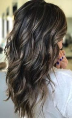Ashy blonde highlights on dark brunette