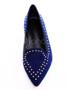 Bout pointu de la basane de Suede bleu royal cloutés mocassins pour femme - Milanoo.com