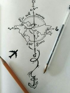 28 Ideas For Travel Drawing Compass Tattoo Designs Trendy Tattoos, New Tattoos, Body Art Tattoos, Cool Tattoos, Tatoos, Globe Tattoos, Symbol Tattoos, Tattoo Symbols, Kunst Tattoos