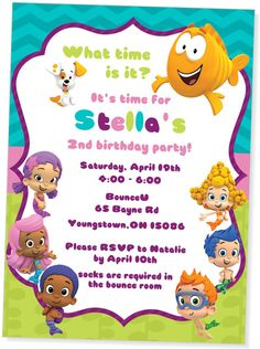Bubble Guppies Inspired birthday party invitation for a girl from My Paper Garden on Etsy https://www.etsy.com/listing/195925502/bubble-guppies-birthday-invitationsgirl