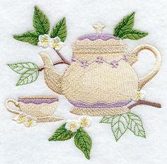 Tea Botanical design for embroidery