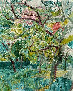 thunderstruck9:  Cuno Amiet (Swiss, Swiss, 1868-1961), Baumgarten - Garten auf der Oschwand, 1925. Oil on canvas, 72.6 x 58.8 cm.