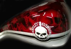Custom Motorcycle Paint Candy Red 2 Tone Skulls, Airbrushed Tank, motorcycle tank, airbrush by frank hazen Harley Fatboy, Harley Bikes, Harley Davidson Logo, Harley Davidson Road Glide, Motorcycle Tank, Motorcycle Images, Motorcycle Helmets, Sportster Cafe Racer, Truck Lettering