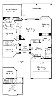 Home Plans HOMEPW13238 - 2,447 Square Feet, 4 Bedroom 3 Bathroom Spanish Home with 3 Garage Bays