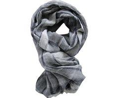 Foulard lin gris foncé et blanc - Modèle SASSARI en lin à découvrir sur Saheline.com | Saheline.com