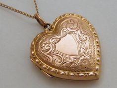 c1900 True Love 9ct Antique Gold Locket Necklace by AntiqueLockets, $600.00