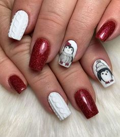 penguin winter nail design, red plaid christmas nails, christmas nail designs 2020, christmas nails, christmas nails 2020, red festive nails, red nail designs for christmas, easy christmas nail art, red christmas nail designs 2020, red nails, festive nails, red christmas nails