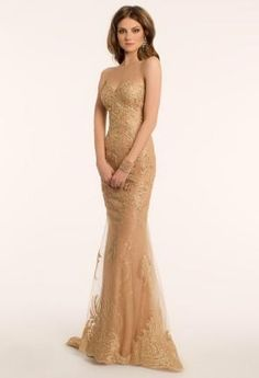 Metallic  Dress with Lace Appliques   Camillelavie.com #gold #dresses #pretty #fashion #glamorous #camillelavie