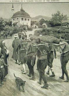 Funeral in a town in Ottoman Dobruja, Romania. Greek History, Bosnia And Herzegovina, Bulgaria, Historical Photos, Art Sketches, Ottomans, Funeral, Anthropologie, Painting