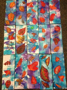 6th Grade Wax Resist Fall Leaves: warm color oil pastels and cool color bleeding…