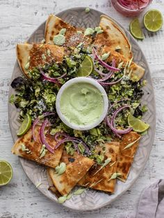 These smoky shiitake mushroom quesadillas are so hearty, cheesy and crunchy. This is a great meatless meal served with avocado cream! Mexican Dishes, Mexican Food Recipes, Stuffed Mushrooms, Stuffed Peppers, Cooking Recipes, Healthy Recipes, Quick Recipes, Cooking Ideas, Diet Recipes