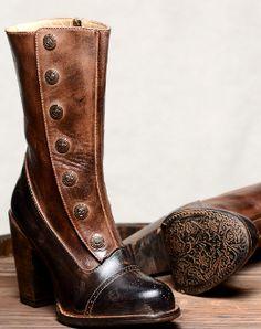 bb7da24636c8 Amelia Black Tan Leather Button Snap Womens Zip Granny Boots