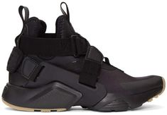 b087a371c2746 Nike Black Air Huarache City Sneakers High-top neoprene sneakers in black.  Tonal grained faux-leather and bonded texturized rubber trim throughout.
