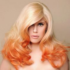 Orange on blond ombre