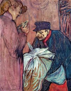 Henri De Toulouse-Lautrec The Laundryman Calling at the Brothal hand painted oil painting reproduction on canvas by artist Henri De Toulouse Lautrec, Van Gogh Pinturas, Art Nouveau, Desenhos Van Gogh, Painting Gallery, Impressionist Artists, French Art, Vincent Van Gogh, Monet