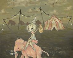 circus pink wooly mammoth lowbrow fantasy art print big eye pop surreal - fly the coop